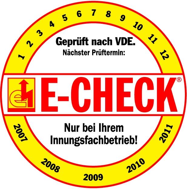 E Check Gelb